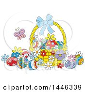 Clipart Of A Cartoon Basket With Colorfully Decorated Easter Eggs And A Butterfly Royalty Free Vector Illustration