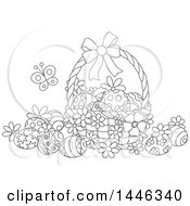 Cartoon Black And White Lineart Basket With Decorated Easter Eggs And A Butterfly