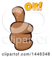 Cartoon Black Thumb Up Emoji Hand With Ok Text
