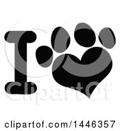 Clipart Of A Black And White Letter I And Heart Shaped Dog Or Cat Paw Print Royalty Free Vector Illustration by Hit Toon