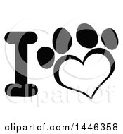 Poster, Art Print Of Black And White Letter I And Heart Shaped Dog Or Cat Paw Print