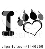 Poster, Art Print Of Black And White Letter I And Heart Shaped Dog Paw Print