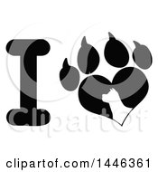 Black And White Letter I And Heart Shaped Paw Print With A Silhouetted Dog
