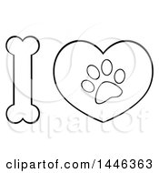 Clipart Of A Black And White Lineart Bone Letter I And Heart With A Dog Paw Print Royalty Free Vector Illustration