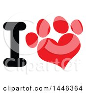 Letter I And Red Heart Shaped Dog Or Cat Paw Print