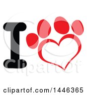 Clipart Of A Letter I And Red Heart Shaped Dog Or Cat Paw Print Royalty Free Vector Illustration