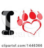 Poster, Art Print Of Letter I And Heart Shaped Dog Paw Print