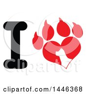 Poster, Art Print Of Letter I And Heart Shaped Paw Print With A Silhouetted Dog