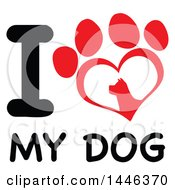 Poster, Art Print Of Clipart Of A  Letter I And Heart Shaped Dog Paw Print Over Text I Love My Dog Royalty Free Vector Illustration