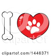 Clipart Of A Bone Letter I And Heart With A Dog Paw Print Royalty Free Vector Illustration