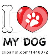 Poster, Art Print Of Dog Bone Letter I And Heart Shaped Paw Print Meaning I Love My Dog
