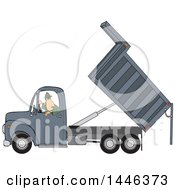 Cartoon Caucasian Man Backing Up And Operating A Hydraulic Dump Truck