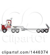 Cartoon White Male Truck Driver Backing Up A Semi Tractor And Flat Bed Trailor