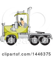 Cartoon White Male Truck Driver Backing Up A Semi Tractor Cab Unit