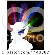 Clipart Of A White Profiled Silhouetted Man Wearing Headphones Over Colorful Lights Royalty Free Vector Illustration