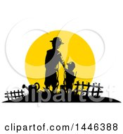Clipart Of A Silhouetted Father And Son Farmers Against A Sunset Royalty Free Vector Illustration