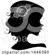 Clipart Of A Black Silhouetted Profiled Woman Wearing A Doily Headdress Royalty Free Vector Illustration