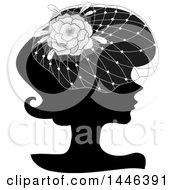 Clipart Of A Black Silhouetted Profiled Woman Wearing A Floral Net Headdress Royalty Free Vector Illustration