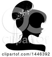 Clipart Of A Black Silhouetted Profiled Woman Wearing A Bridal Veil Royalty Free Vector Illustration