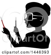 Clipart Of A Black Silhouetted Profiled Woman Wearing Goggles And Holding Current Testers Royalty Free Vector Illustration by BNP Design Studio