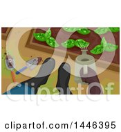 Clipart Of A Downward View Of A Gardeners Feet In Boots And Hand Using A Watering Can In A Garden Royalty Free Vector Illustration