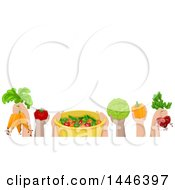 Clipart Of A Group Of Child Hands Holding Up Fresh Produce Royalty Free Vector Illustration