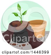 Clipart Of A Pair Of Gloved Gardener Hands Pulling A Seedling Plant From A Bag To Put In A Pot Royalty Free Vector Illustration