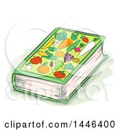 Clipart Of A Sketched Book With Fruits And Veggies On The Cover Royalty Free Vector Illustration