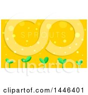 Clipart Of A Row Of Sprouts With Text On Orange Royalty Free Vector Illustration