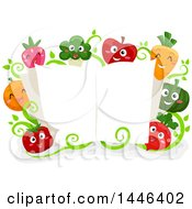 Group Of Happy Vegetable And Fruit Mascots Around An Open Cook Book