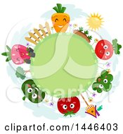 Round Grassy Globe Frame With Happy Fruits And Vegetables