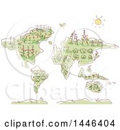 Clipart Of A Sketched Map With Plants And Gardens Royalty Free Vector Illustration