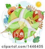 Clipart Of A Globe With Fruit And Vegetable Houses Royalty Free Vector Illustration by BNP Design Studio