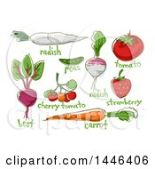 Clipart Of Sketched Fruits And Vegetables With Text Royalty Free Vector Illustration