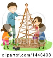 Clipart Of A Happy Brunette White Family With A Trellis In Their Garden Royalty Free Vector Illustration