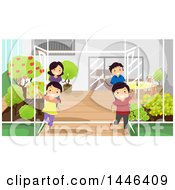 Clipart Of A Happy White Family Welcoming Visitors In Their Greenhouse Royalty Free Vector Illustration