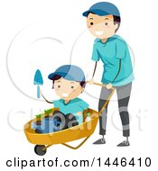 Clipart Of A Happy Brunette White Male Father Pushing His Son In A Gardening Cart Royalty Free Vector Illustration