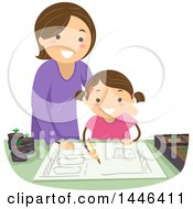 Clipart Of A Happy Brunette White Mother Helping Her Daughter Plan A Garden Royalty Free Vector Illustration