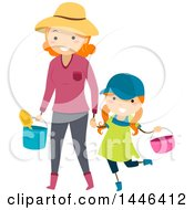 Clipart Of A Happy Red Haired White Mother Holding Hands And Carrying Gardening Tools With Her Daughter Royalty Free Vector Illustration by BNP Design Studio