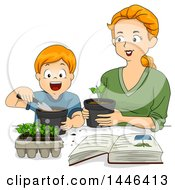 Clipart Of A Cartoon Happy Red Haired White Mother Transplanting Seedings With Her Son Royalty Free Vector Illustration