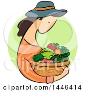 Clipart Of A Sketched Profiled Brunette White Woman Holding A Basket Of Produce Over A Green Circle Royalty Free Vector Illustration
