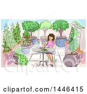 Clipart Of A Sketched Brunette White Woman Eating A Meal In A Garden Royalty Free Vector Illustration