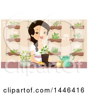 Clipart Of A Happy Woman Planting A Seedling In A Boot In An Indoor Garden Royalty Free Vector Illustration