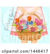 Clipart Of A Cropped Woman Holding A Flower Basket With Cutting Garden Text Over Blue Royalty Free Vector Illustration
