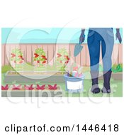 Clipart Of A Cropped Woman In Garden Gear Standing By Tools And Plants Royalty Free Vector Illustration