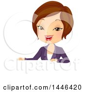 Clipart Of A Short Haired Brunette White Business Woman Over A Sign Royalty Free Vector Illustration