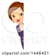 Clipart Of A Short Haired Brunette White Business Woman Looking Around A Sign Royalty Free Vector Illustration by BNP Design Studio