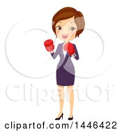 Clipart Of A Short Haired Brunette White Business Woman Wearing Boxing Gloves Royalty Free Vector Illustration
