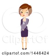 Clipart Of A Blushing And Uncomfortable Short Haired Brunette White Business Woman Royalty Free Vector Illustration by BNP Design Studio