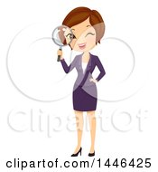 Clipart Of A Short Haired Brunette White Business Woman Looking Through A Magnifying Glass Royalty Free Vector Illustration